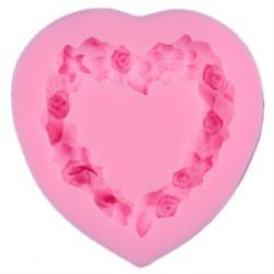 Силиконов молд / форма / калъп - сърце от рози - размери - 69x70x15мм