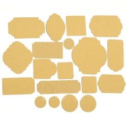 Тагове / етикети от релефен картон с различни форми от 17 до 67мм, цвят - охра -  19 броя