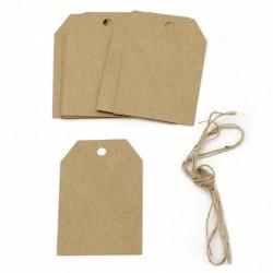 Тагове / етикети от крафт картон с размери - 5.8x8.5 см + шнур юта - 12 броя