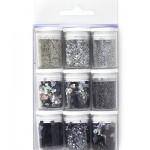 Декоративен брокат и пайети в сиво-черната гама - Glitter Set Silver - 9бр.