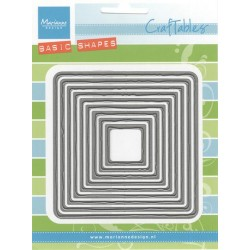 Комплект от 9бр. квадрати с назъбени краища - Marianne Design - Craftables Dies - Basic Distressed Square