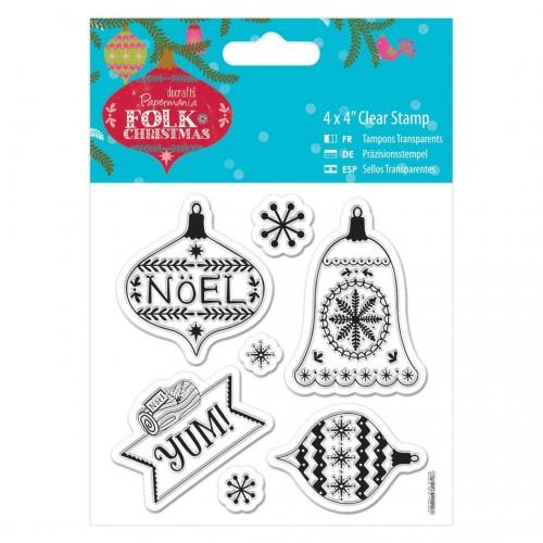 "Комплект от силиконови печати ""Коледни / Новогодишни"" - 4 x 4"" Clear Stamp - Folk Christmas - Yum"