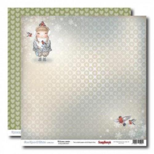 """Двустранен дизайнерски картон 12"""" х 12"""", 180гр. - Double-sided paper 12""""*12"""" Welcome Winter 180gsm 1 sheet"""
