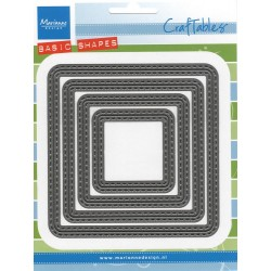 Комплект от 4 бр. квадрати с двоен шев - Marianne Design: Craftables Dies - Basic Squares