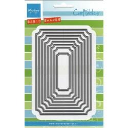 Комплект от 8 бр. правоъгълни рамки с декоративни ъгли - Marianne Design - Craftables Die - Basic Tickets
