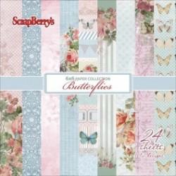 """Дизайнерско блокче """"Пеперуди"""" - 24бр. листи - Paper set 6""""*6""""  Butterflies 170 gsm (24 sheets/set)"""