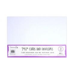 Комплект от 50бр. бели прегънати картички и пликове - Dovecraft White 5x7 Inch Cards & Envelopes (50pcs)