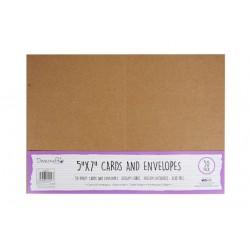 Основи за картички (крафт) + пликове - 50бр. - Dovecraft Kraft 5x7 Cards & Envelopes (50pcs)