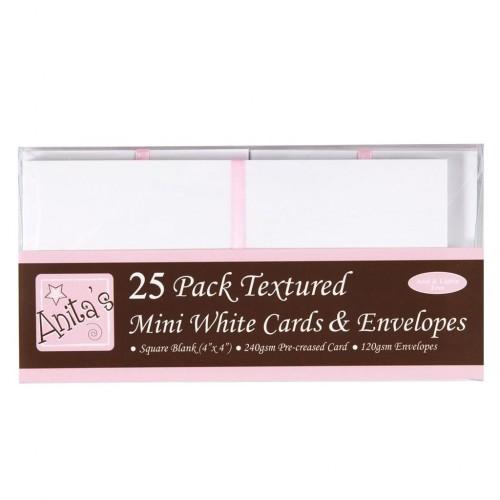Мини основи за картички - квадратни - 10 см х 10 см + пликове - Anita's 4x4 Inch Cards & Envelopes White (25pk) - 25бр.