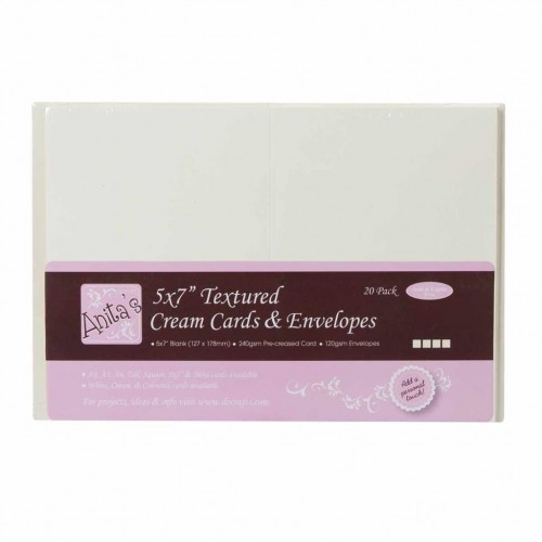 """Текстурни основи за картички с пликове - крем - 5""""х7"""" - Anita's 5x7 Inch Cards & Envelopes Textured Cream (20pk) - 20бр."""