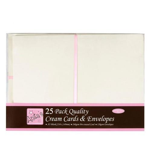 Основи за картички + пликове A5 - Anita's A5 Cards & Envelopes Cream (25pk) - 25бр.