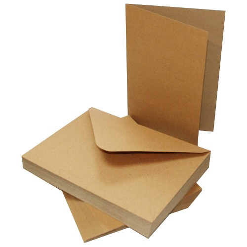 """Крафт основи за картички + пликове - 5"""" х 7"""" - 50 бр. - Craft UK Cards & Envelopes 5x7 Inch Kraft"""