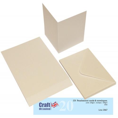 20бр. бели перлени основи за картички с пликове , размер C6 - Craft UK Cards & Envelopes C6 Pearlescent White