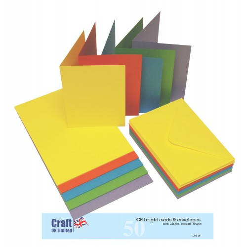 Основи за картички - C6 - наситени цветове - 50бр. Craft UK Cards & Envelopеs C6 Bright