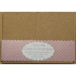 Комплект от 20бр. мини основи за картички + пликове - крафт - Dovecraft 20 Mini Kraft 74mm x 105mm Cards & Envelopes