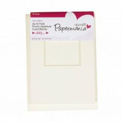 Комплект от 10бр. основи за картички - тройно прегънати с пликове - крем, с отвор - квадрат - Papermania Aperture Cards & Envelopes Tri Fold Window A6 Cream (10pk)