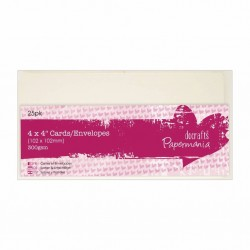 Комплект от 25бр. мини основи за картички + пликове - крем - Papermania Cards & Envelopes 4x4 Inch Cream (25pk)