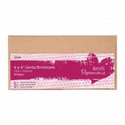 Комплект от 25бр. мини крафт основи за картички + пликове - Papermania Cards & Envelopes 4x4 Inch Kraft (25pk)