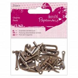Комплект от 21бр. мъжки метални елементи - инструменти - Papermania Charm Pack Tools (21pcs)