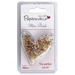 200бр. мини брадс - мед, сребро и злато - Papermania Mini Brads Metallics (200pk) Assorted Gloss