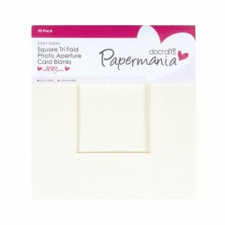 Комплект от 10бр. крем картички с пликове - тройно прегъната с отвор - прозорец - квадрат - Papermania Square Aperture Cards & Envelopes Tri Fold Window Cream (10pk)