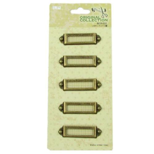 Метални етикети / тебелки - правоъгълник - 5бр. - 51.5 х 14 х 2 мм