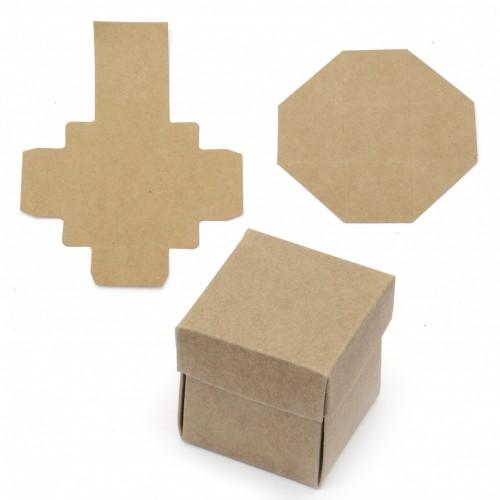 Квадратна крафт кутийка за декориране - 4 х 4 х 4см