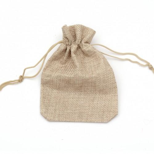 Торбичка / кесийка / чувалче от зебло с връзки - размери - 9,5 х 15 см