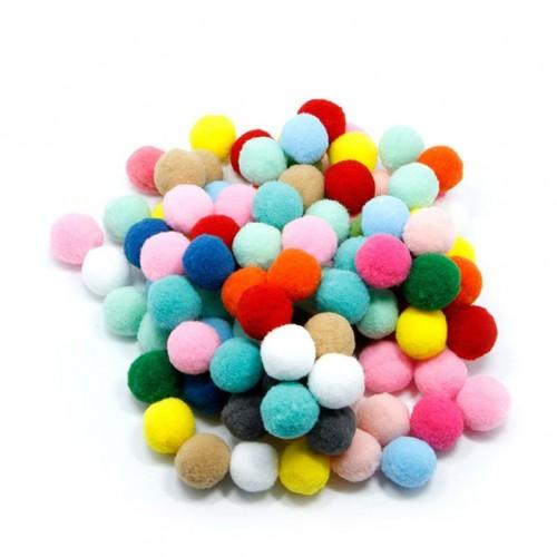 Комплект от 50бр. пом пом (помпони) цветни топчета - асорти - d - 2см