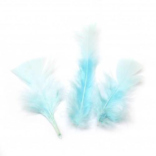 10бр. декоративни пера в светло синьо / лазурно - 120~170x35~40 мм