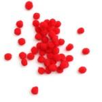 50бр. мини пом пом червени топчета -  Hobbycraft Red Mini Pom Poms 50 Pack