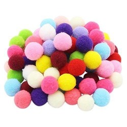 Комплект от 30бр. пом пом (помпони) цветни топчета - асорти - d-23мм