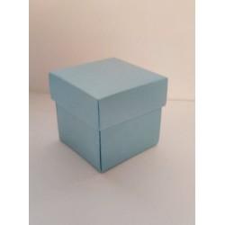 Квадратна крафт кутийка за декориране - 5 х 5 х 5см - светло синя