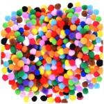 Комплект от 260бр. пом пом (помпони) цветни топчета - асорти