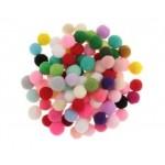 Комплект от мини пом пом (помпони) цветни топчета - асорти - 50бр.