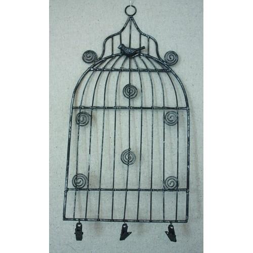 Малка метална стойка - кафез, за закачане на бележки, метална - сребро - Small Birdcage Memo Holder 30 x 15,5 cm
