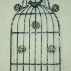Малка метална стойка - кафез, за закачане на бележки, метална - бяла - Small White Birdcage Memo Holder 30x15,5 cm