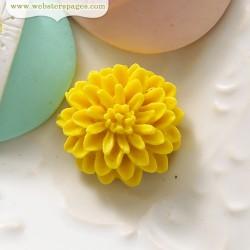 10бр. жълто цвете от полирезин - PomPoms Cameo Set – Yellow (10 pieces per pack)