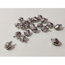 Мини метални звънчета - сребро - 20 броя - 10х8мм
