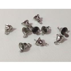 Мини звънчета / камбанки 9,5 х 16мм, дупка 2,5мм, сребро - 10 броя