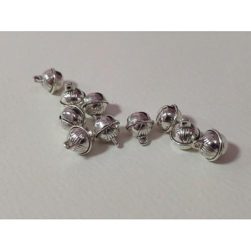 Мини метални звънчета - сребро, 1.2х 1см - 10 бр.