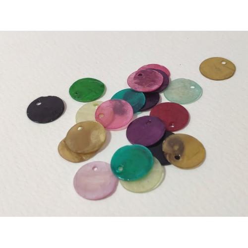 Микс от цветове седефени кръгчета с дупка, 1, 4 см- 20бр.