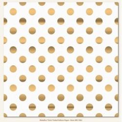 """Декоративен ацетатен лист - със златни точки - 12""""х 12"""" - Metallic Dot (Single 12X12 Foiled Vellum Sheet)"""