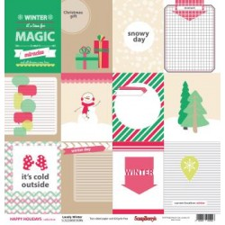 "Двустранен дизайнерски лист - Double-sided paper 12""*12"" Happy Holidays Lovely Winter 180gsm, 1 Sheet"