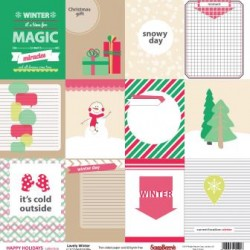 """Двустранен дизайнерски лист - Double-sided paper 12""""*12"""" Happy Holidays Lovely Winter 180gsm, 1 Sheet"""