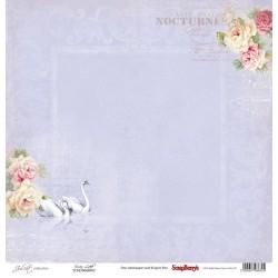 Едностранен дизайнерски лист - рози и лебеди - One-Sided Paper (12*12 - 190gsm) Juliet - Swan Lake