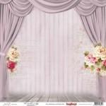 Едностранен дизайнерски лист - завеса и рози - One-Sided Paper (12*12 - 190gsm) Juliet - The World's A Stage