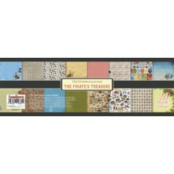 """Дизайнерско блокче от хартии 12""""х 12"""" - Пиратско съкровище - Paper Collection Set 12""""*12"""" The Pirate's Treasure 190 gsm (16 double-sided sheets, 16 designs, 2 units of each sheet)"""