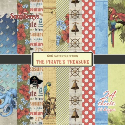 "Дизайнерско блокче 6"" x 6"" - Пиратско съкровище -  Paper Collection Set 6""*6"" The Pirate's Treasure 190 gsm (24 sheets, 12 designs, 2 units of each sheet)"