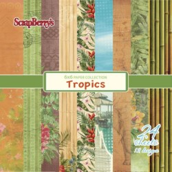 "Дизайнерско блокче - 6"" х 6"" - Тропик - Paper Collection Set 6""*6"" Tropics 190 gsm (24 sheets, 12 designs, 2 units of each sheet)"